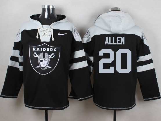 Mens nfl oakland raiders #20 allen black (new single color) hoodie Jersey