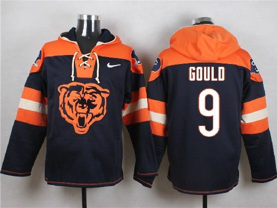 Mens Nfl Chicago Bears #9 Gould Blue (new Single Color) Hoodie Jersey