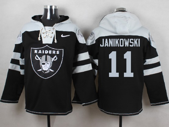 Mens nfl oakland raiders #11 janikowski black (new single color) hoodie Jersey