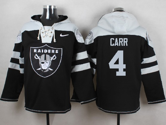 mens nfl Oakland Raiders #4 Derek Carr black (new single color) hoodie jersey