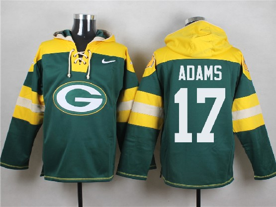 Mens Nfl Green Bay Packers #17 Adams Green (new Single Color) Hoodie Jersey Dt