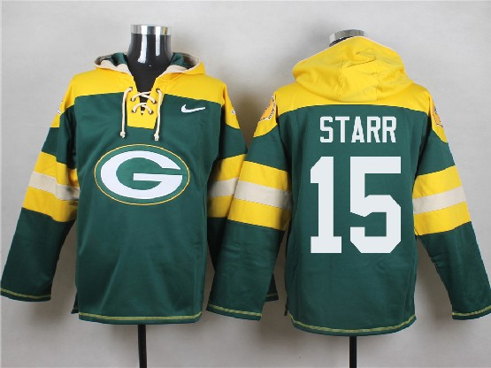 Mens Nfl Green Bay Packers #15 Starr Green (new Single Color) Hoodie Jersey Dt