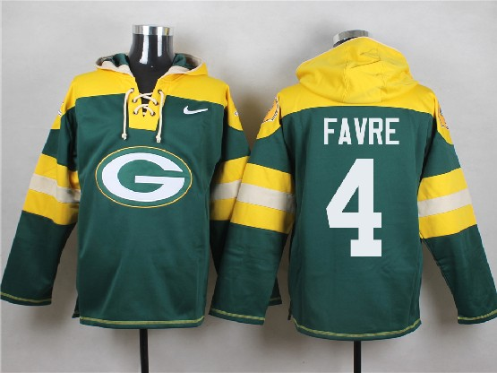 Mens Nfl Green Bay Packers #4 Favre Green (new Single Color) Hoodie Jersey Dt
