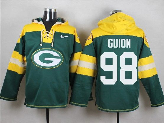 Mens Nfl Green Bay Packers #98 Guion Green (new Single Color) Hoodie Jersey Dt