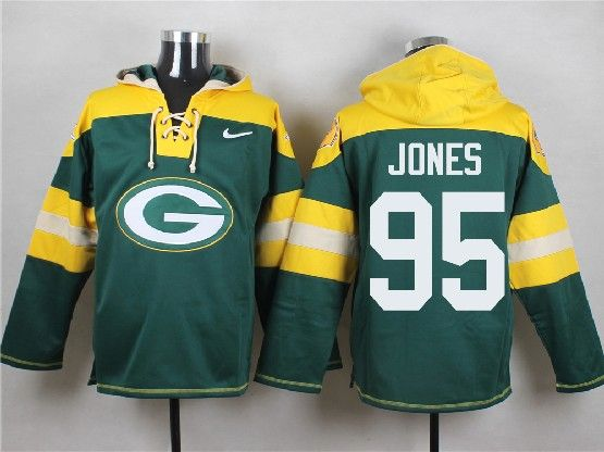 Mens Nfl Green Bay Packers #95 Jones Green (new Single Color) Hoodie Jersey Dt