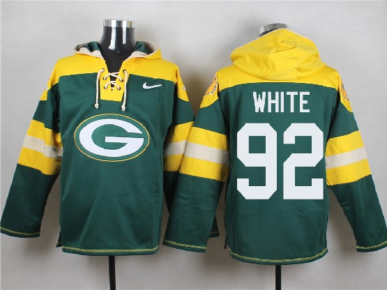 Mens Nfl Green Bay Packers #92 White Green (new Single Color) Hoodie Jersey Dt