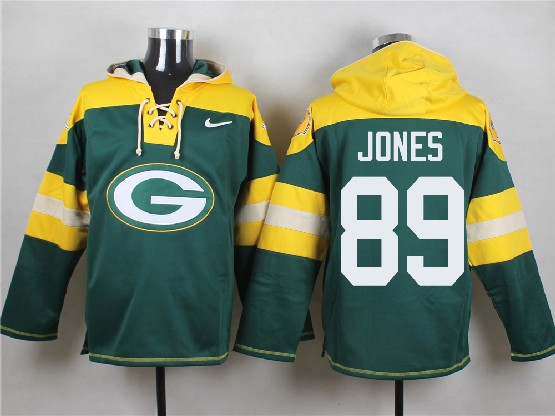 Mens Nfl Green Bay Packers #89 Jones Green (new Single Color) Hoodie Jersey Dt