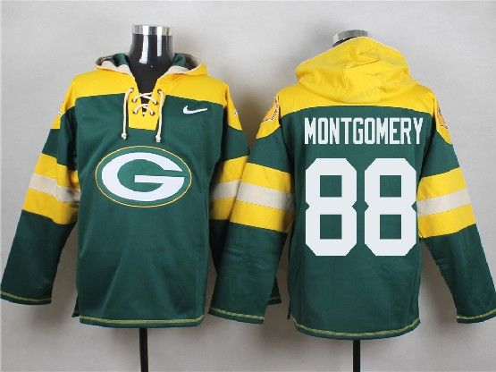 Mens Nfl Green Bay Packers #88 Montgomery Green (new Single Color) Hoodie Jersey Dt