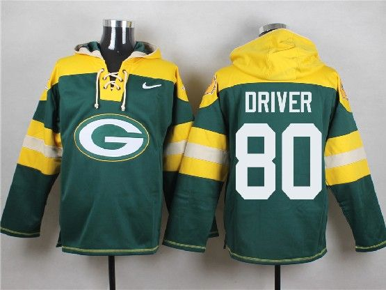 Mens Nfl Green Bay Packers #80 Driver Green (new Single Color) Hoodie Jersey Dt