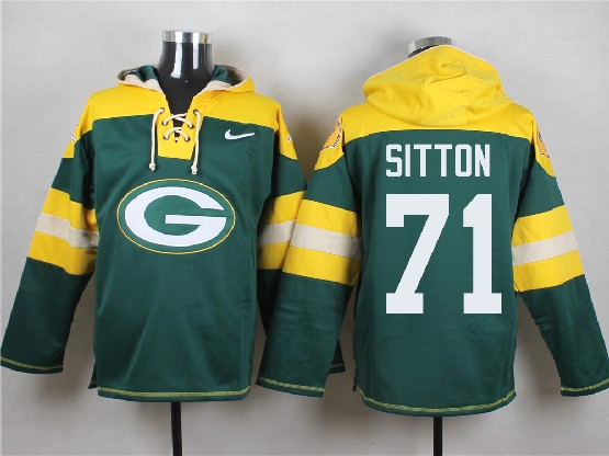 Mens Nfl Green Bay Packers #71 Sitton Green (new Single Color) Hoodie Jersey Dt