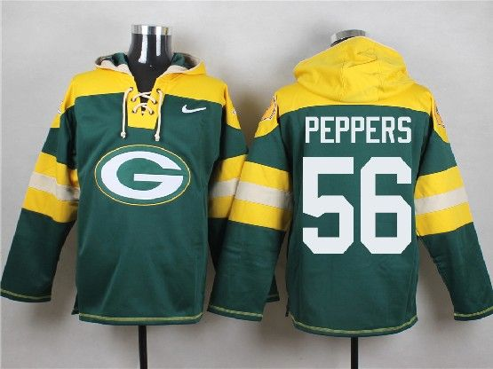 Mens Nfl Green Bay Packers #56 Peppers Green (new Single Color) Hoodie Jersey