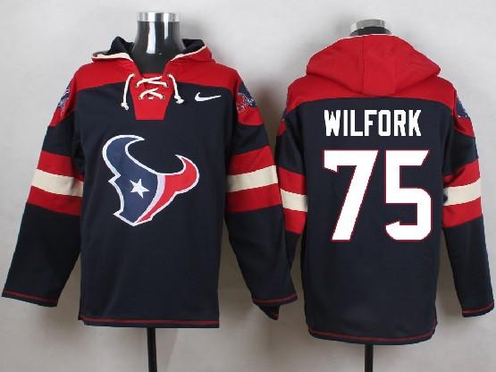 Mens Nfl Houston Texans #75 Wilfork Dark Blue (new Single Color) Hoodie Jersey