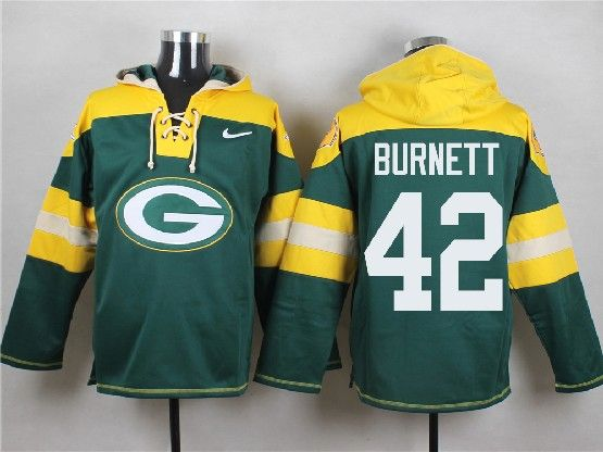 Mens Nfl Green Bay Packers #42 Burnett Green (new Single Color) Hoodie Jersey