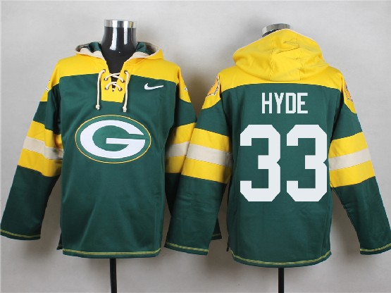 Mens Nfl Green Bay Packers #33 Hyde Green (new Single Color) Hoodie Jersey