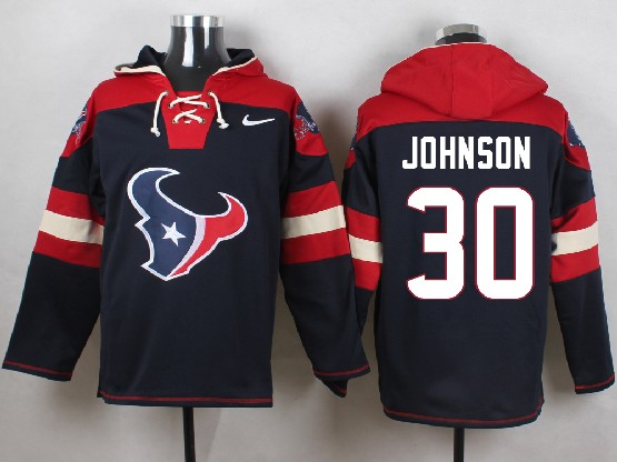 Mens Nfl Houston Texans #30 Johnson Dark Blue (new Single Color) Hoodie Jersey
