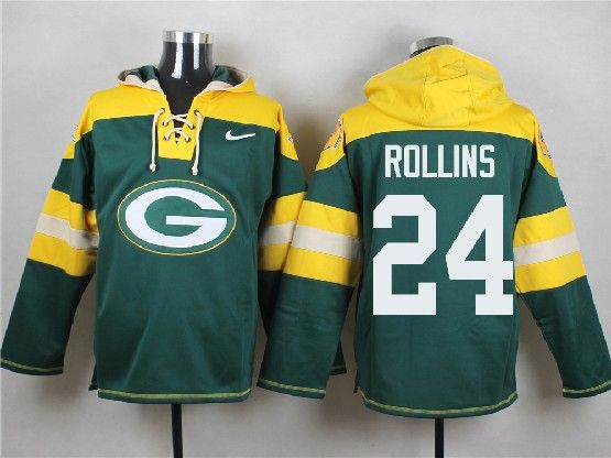 Mens Nfl Green Bay Packers #24 Rollins Green (new Single Color) Hoodie Jersey