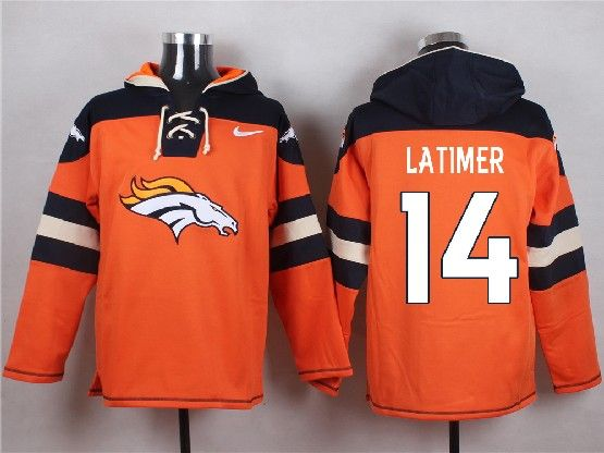 Mens Nfl Denver Broncos #14 Latimer Orange (new Single Color) Hoodie Jersey