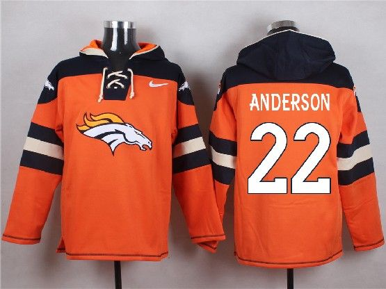 Mens Nfl Denver Broncos #22 Anderson Orange (new Single Color) Hoodie Jersey