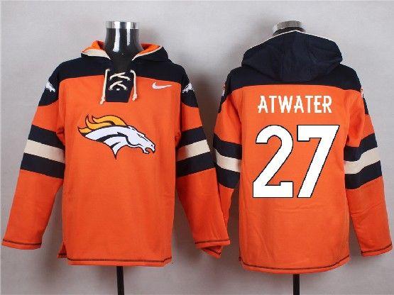 Mens Nfl Denver Broncos #27 Atwater Orange (new Single Color) Hoodie Jersey