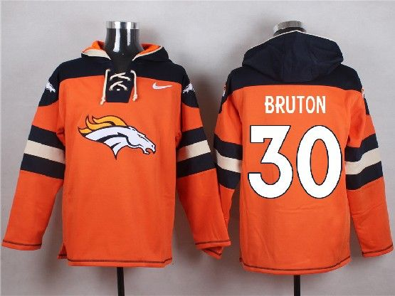 Mens Nfl Denver Broncos #30 Bruton Orange (new Single Color) Hoodie Jersey