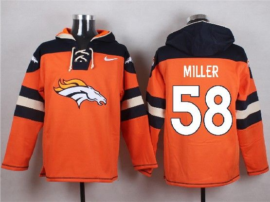 mens nfl Denver Broncos #58 Von Miller orange (new single color) hoodie jersey