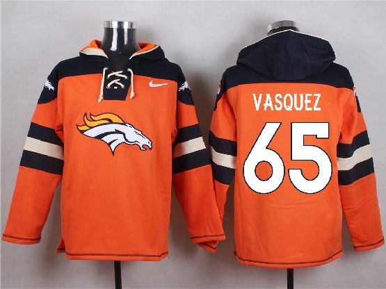 Mens Nfl Denver Broncos #65 Vasquez Orange (new Single Color) Hoodie Jersey
