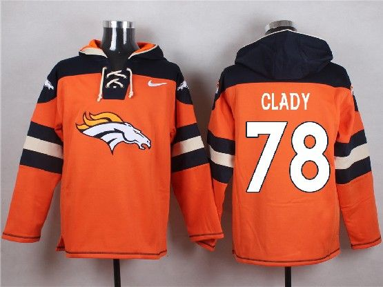 Mens Nfl Denver Broncos #78 Clady Orange (new Single Color) Hoodie Jersey