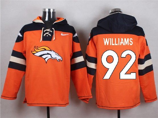 Mens Nfl Denver Broncos #92 Williams Orange (new Single Color) Hoodie Jersey