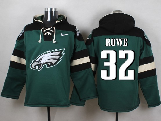 Mens nfl philadelphia eagles #32 rowe green (new single color) hoodie Jersey