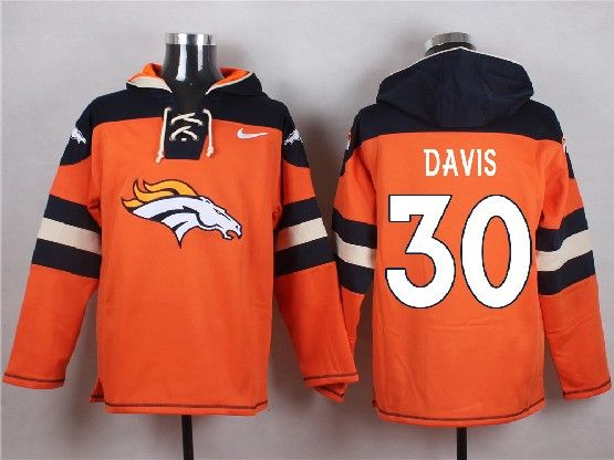 Mens Nfl Denver Broncos #30 Davis Orange (new Single Color) Hoodie Jersey