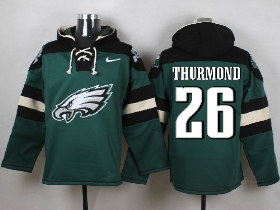 Mens nfl philadelphia eagles #26 thurmond green (new single color) hoodie Jersey