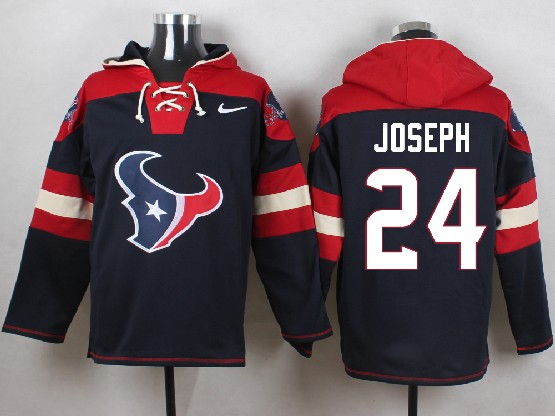 Mens Nfl Houston Texans #24 Joseph Dark Blue (new Single Color) Hoodie Jersey