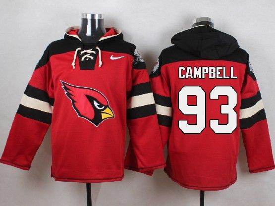Mens Nfl Arizona Cardinals #93 Calais Campbell Red (new Single Color) Hoodie Jersey