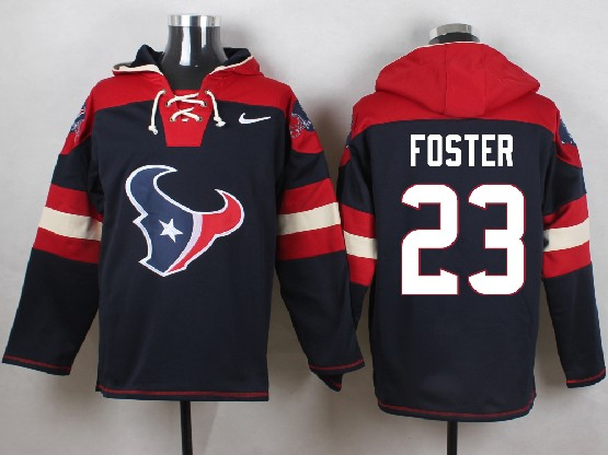 Mens Nfl Houston Texans #23 Foster Dark Blue (new Single Color) Hoodie Jersey