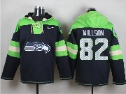 Mens Nfl Seattle Seahawks #82 Willson Dark Blue (new Single Color) Hoodie Jersey