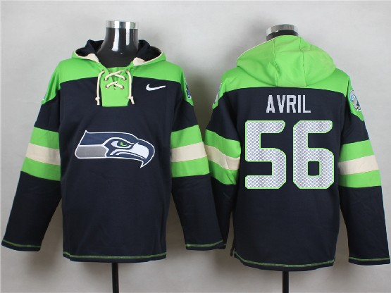 Mens Nfl Seattle Seahawks #56 Avril Dark Blue (new Single Color) Hoodie Jersey