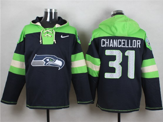 mens nfl Seattle Seahawks #31 Kam Chancellor dark blue (new single color) hoodie jersey