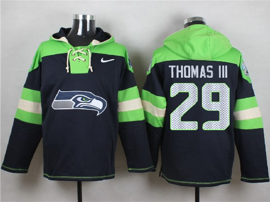 Mens Nfl Seattle Seahawks #29 Thomas Iii Dark Blue (new Single Color) Hoodie Jersey