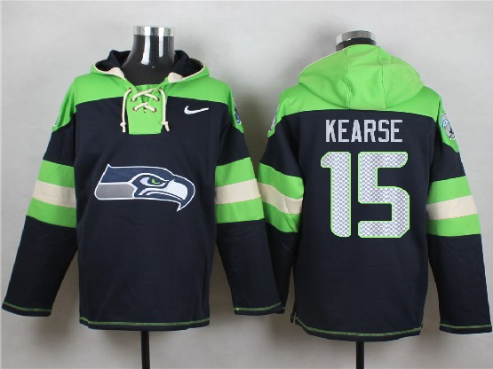 Mens Nfl Seattle Seahawks #15 Kearse Dark Blue (new Single Color) Hoodie Jersey