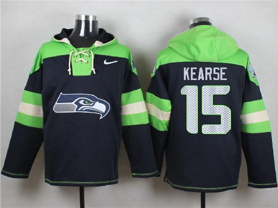 Mens Nfl Seattle Seahawks #15 Kearse Dark Blue (new Single Color) Hoodie Jersey
