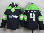 Mens Nfl Seattle Seahawks #4 Hauschka Dark Blue (new Single Color) Hoodie Jersey