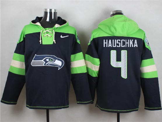 Mens Nfl Seattle Seahawks #4 Hauschka Dark Blue (new Single Color) Hoodie Jersey