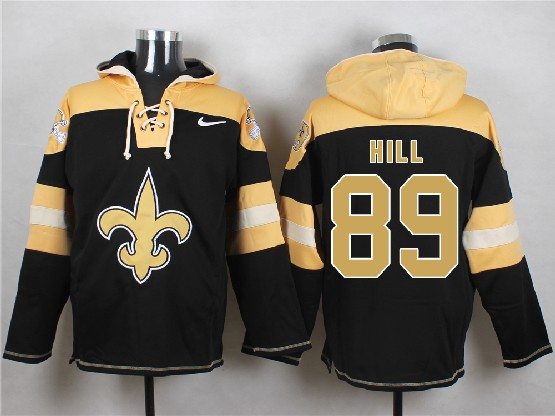 Mens nfl new orleans saints #89 hill black (new single color) hoodie Jersey