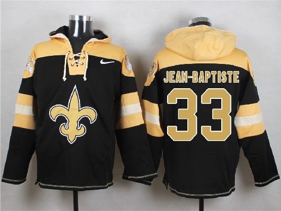 Mens nfl new orleans saints #33 jean baptiste black (new single color) hoodie Jersey