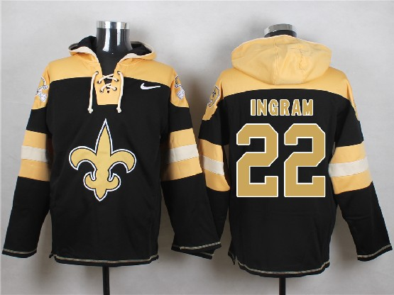 Mens nfl new orleans saints #22 ingram black (new single color) hoodie Jersey