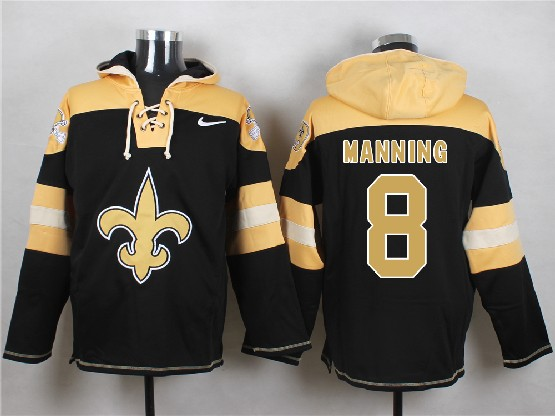 Mens nfl new orleans saints #8 manning black (new single color) hoodie Jersey