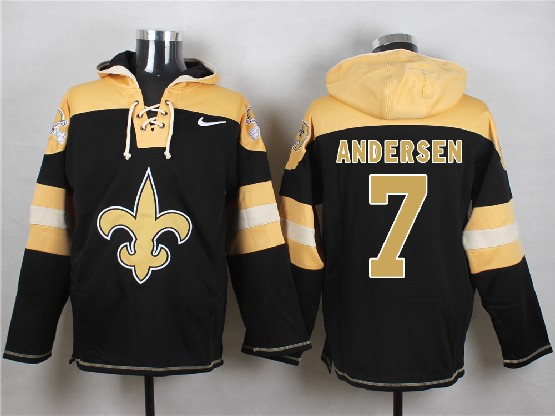 Mens nfl new orleans saints #7 andersen black (new single color) hoodie Jersey