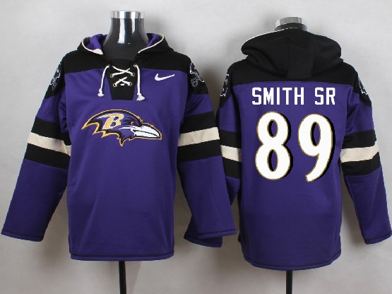 Mens Nfl Baltimore Ravens #89 Steve Smith Sr Sr Purple (new Single Color) Hoodie Jersey