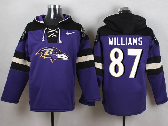Mens Nfl Baltimore Ravens #87 Maxx Willams Purple (new Single Color) Hoodie Jersey
