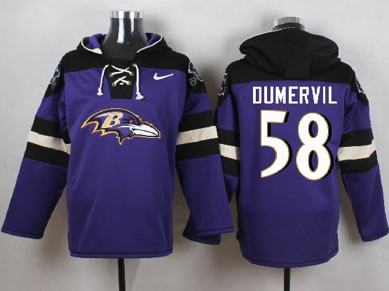 Mens Nfl Baltimore Ravens #58 Elvis Dumervil Purple (new Single Color) Hoodie Jersey